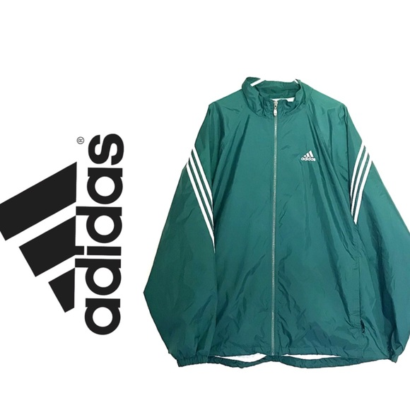 Adidas Jackets Coats Mens Green White Windbreaker Poshmark